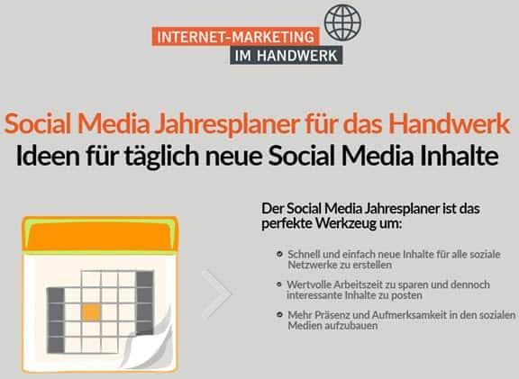 Social Media Jahresplaner fürs Handwerk 2020